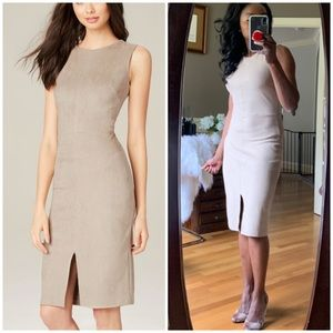 "{ Bebe } Faux Suede Tan ""Erin"" Dress Sz M"
